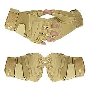 Tailcas® Militaire Tactique Gants Glove Demi-Doigt Court, Gants Moto / Musculation / Alpinisme pour Gym Fitness / Sports De Plein Air (Kaki; Size L)