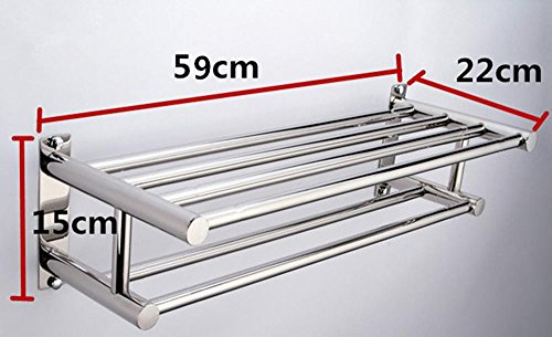 SSBY Hotel SUS inox acier tige double h, porte-serviettes, porte-serviette , 60cm type stainless steel towel rack
