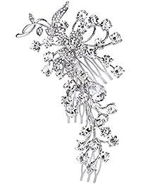 TENYE Peine para mujer, diseño de flores de cristal austriaco, color plateado