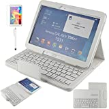 Japace® Cover con Tastiera Bluetooth per Samsung Galaxy Tab 4 10.1 Pollici T530 / T531 / T535 Custodia Protettiva + Layout English QWERTY Wireless Keyboard + Proteggi Schermo + Penna - Bianco