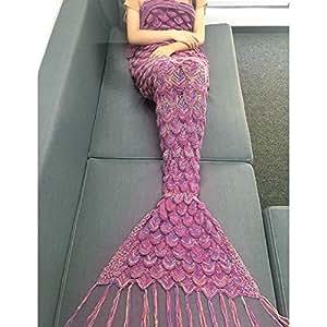 WLM Meerjungfrau Decken,Weiche Strick Meerjungfrau Strickmuster Schlafsack, Handgemachte Mermaid Schwanz Stil Blanket Sofa Schlafdecke für Erwachsene (Farbe Lila)