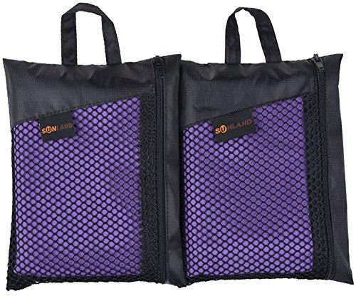 Sunland serviette microfibre compacte et Séchage Rapide serviette de plage,voyage,Sport et Camping lot de 2 violet 40 x 80 cm