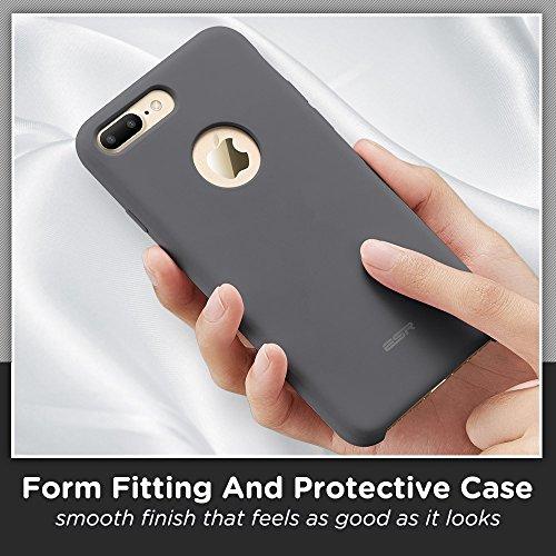 iPhone 7 Plus Hülle (5,5 Zoll), ESR® Liquid Silikon Schutzhülle mit Apple-Logo Loch Stoßdämpfung Flüssigsilikon Hülle für iPhone 7 Plus (Grau) Grau