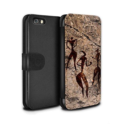 Stuff4 Coque/Etui/Housse Cuir PU Case/Cover pour Apple iPhone 5/5S / Pack 5pcs Design / Peinture Rupestre Collection Danse/Musique