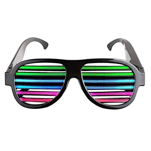 Kostüme Rave 2017 (LAMASTON LED Partybrille Musical aktivierte USB wiederaufladbare Blitz Beleuchtung Sonnenbrille Brille für Karneval, Halloween, Bar, Hochzeit, Junggesellinnenabschied, Weihnachtsgeschenk und)