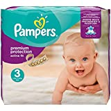 Pampers Premium Protection Active Fit Nappies Monthly Saving Pack - Size 3, Pack of 204