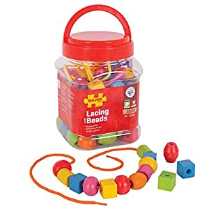 Bigjigs Toys Jar of Lacing Beads and Laces - Threading Beads Activity Toys