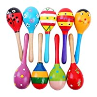 Random Color 2 Pcs Wooden Rattle Shaker Baby Kids Music Toy Wood Maracas Toy Favor Gift for Children Toddlers - Mxssi