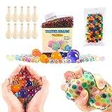 Pack de 50.000 perlas de hidrogel pequeñas, 160 perlas tamaño extragrande y 10 globos. Perlas de hidrogel de distintos colores, bolas de gel para decoración y juguetes sensoriales. (A)