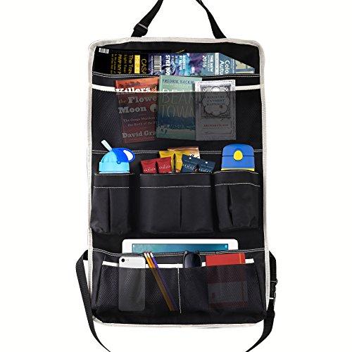 Moko organizzatore sedile posteriore d'auto, multi-tasche organizer & protezione sedile, borsa stoccaggio pieghevole per viaggio, depositare i utensili, bottiglie, giocattoli, cellurari - nero & beige
