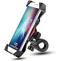 "Grefine Anti Vibración Motocicleta Celular Universal Prevención de Caídas Manillar de la Bicicleta Soporte Teléfono Móvil Abrazadera de la Horquilla con Rotación 360 para 3.5"" a 6.3"" GPS, Unisex Adult, Negro"