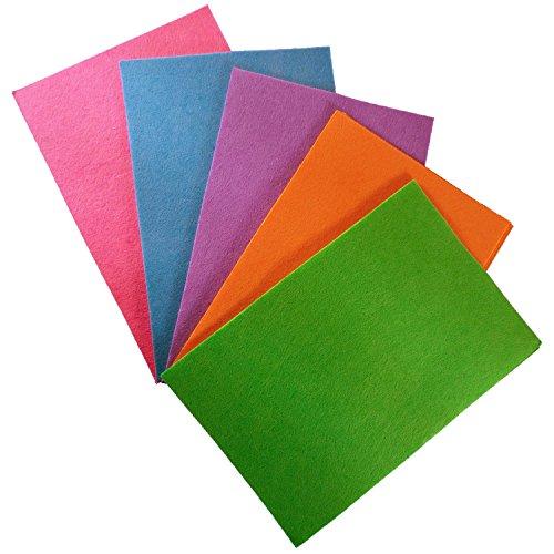 15 dünne Bastelfilzplatten aus Polyester - Größe: ca. 20 x 30 cm und 0,5 mm dick - Bunt sortierte Mischung Bastelplatten zum Ausschneiden, Kleben, Basteln oder Gestalten