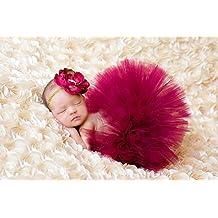 TININNA Estilo Lindo de Foto Suave Infantil Niñas Bebés Trajes Apoyo de la Fotografía Costume Outfits, Falda y Flor Diadema la Ropa del Bebé-Flores rojo oscuro