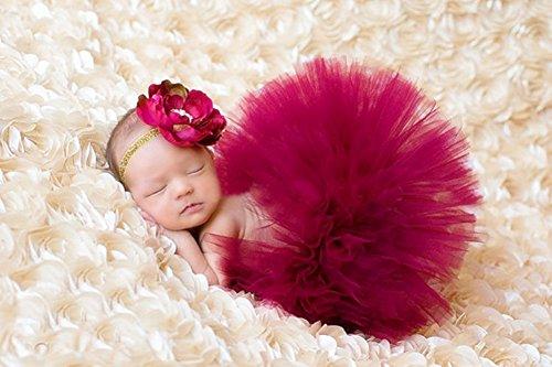 TININNA Baby Mädchen Fotografie Prop Kleinkinder Neugeborenen Rock Tutu Kleidung Trikot Kostüm Foto Prop Outfits Haarband tiefrot