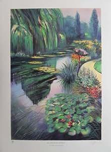 Lithographie originale signée de Rolf RAFLEWSKI - Hommage à Monet : Giverny - Le bassin aux nymphéas
