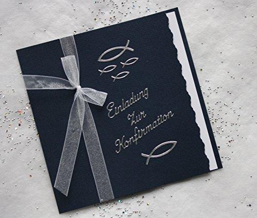 5 Einladungskarten zur Konfirmation Einladung incl. Umschlag Schriftzug dunkelblau/silber*Handarbeit*
