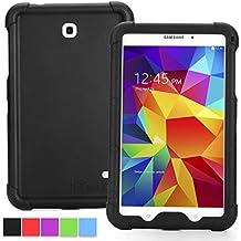 Funda Galaxy Tab 4 7.0 - Poetic [Serie Turtle Skin] Funda Samsung Galaxy Tab 4 7.0 - [Protección Esquina/Parachoques] [Amplificación de Sonido] Funda Protectora de Silicón para Samsung Galaxy Tab 4 7.0 Negro (3 Años Garantía del Fabricante Poetic)