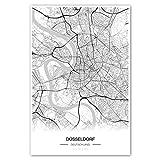 Zulumaps Poster 60x90cm Stadtplan Düsseldorf - Hochwertiger Kunstdruck