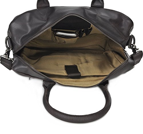 Leder Aktentasche Herren URBAN FOREST Cntmp Unisex Messengerbag Ledertasche Laptoptasche Damen Vintage Notebooktasche Herren Leder DIN-A4 Leder 39x30x13cm (B x H x T) Braun