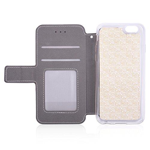 Custodia iPhone 6S 4.7 Cover iPhone 6 4.7,Ukayfe Stitching Colore Flip Case Cover per iPhone 6S 4.7,iPhone 6/6S Lussuosa Astuccio Custodia Cover [PU Leather] [Shock-Absorption] Protettiva Portafoglio  Vite Grigio