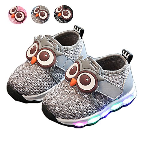 LED Baby Schuhe, Chickwin Mesh Atmungsaktiv Baby LED Kinderschuhe Unisex Niedlich Eule Rutschfest Bunte Bequem LED-Leuchten Schuhe SportSchuhe Flashing Schuhe (24 / Maß Innen (cm) 14.5, Grau)