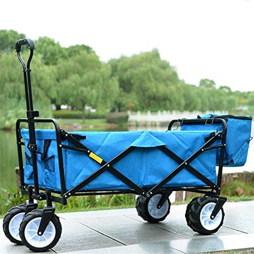 Carro de mano DELLT Días de verano Color puro Carro de hielo Carro/Carro de la compra Carro de equipaje de la pesca Carro/Hogar Cuatro vueltas Carga de Van/70 Kg (Color : Azul)