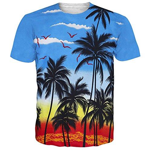 NEWISTAR Unisex 3d druckten Sommer-beiläufige kurze Hülsen-T-Shirts T-Stücke (T-shirt Voll)