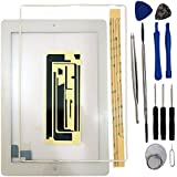 Touch Screen Digitizer iPad 2 White Kit Pre-assembled Glass + home button + Home Flex and attached contour (Model A1397, A1396, A1395, A1376)