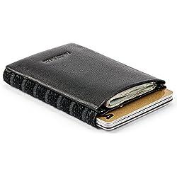 Cartera de cuero fina para hombres y mujeres, con compartimentos para tarjetas de crédito y monedas