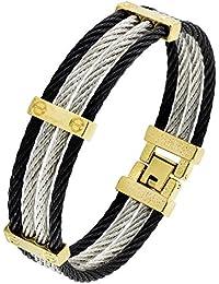 ce662e1b4d54 Bracelet en acier inoxydable chirurgical Jewelbox noir et doré avec argent  316L Pour homme