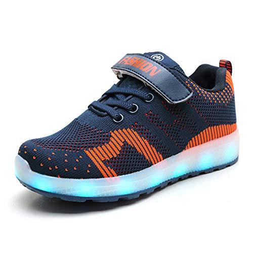 Bambini Unisex Scarpe LED Luminosi Sneakers LED Lampeggiante USB Ricarica 7 Colori Colorati Scarpe Sportive Ragazzi Ragazze (26 EU, Blu 02)