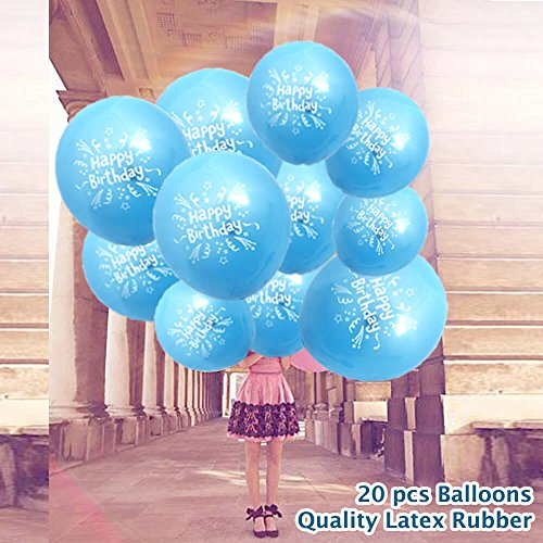 20 pcs Bleu Joyeux anniversaire Ballons imprimés - pour Homme Femme Enfants enfants fête