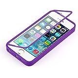 iPhone 5 / 5s und iPhone SE, JAMMYLIZARD Rundumschutz Hülle aus mattem Silikon mit integriertem Displayschutz, LILA