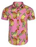 Burlady Hemd Herren Langarm Hawaiihemd Party Sommer Freizeithemd (XL, Rose-K)