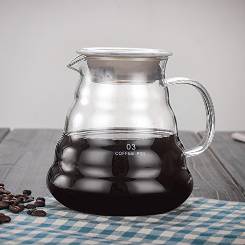 KITCHY V60 Pour Over Glass Range Coffee Server 360ml 600ml 800ml Carafe Drip Coffee Pot Coffee Kettle Brewer Barista Percolator Clear: 780ml
