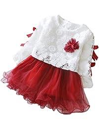 Niña princesa vestido,Sonnena �� �� �� impresión hueca de encaje vestido de moda diseño manga larga rojo-blanco vestido para niñas Lindo tutú vestido de la muchacha encantadora pequeña