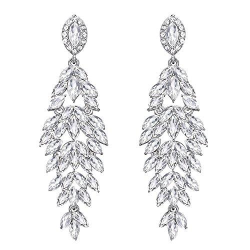 Clearine Damen Ohrringe Hochzeit Braut Kristall Multi Marquise-Form Blatt Cluster Kronleuchter Ohrringe Klar Silber-Ton