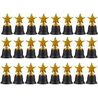 Star trofeos–Pack de 12Mini Star premios trofeos de plástico, para niños, color dorado, 2,6x 4,7x 2,6cm
