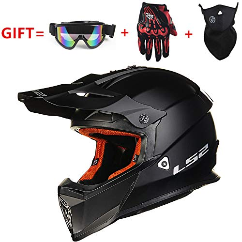 Hulinlian Casco off-Road Universale L52 Four Seasons Nero, Casco Moto da Corsa Kart ATV off-Road per Uomo e Donna Certificazione DOT, Regali (Set di 4),XXL(60~61cm)