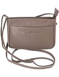 b8f994787883c Jennifer Jones Taschen Damen 100% Leder Damentasche Handtasche  Schultertasche Umhängetasche Tasche klein Crossbody Bag grau…