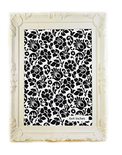 Shabby Chic blanco marco de fotos de estilo rococó francés adornado, plástico, blanco, 6x4