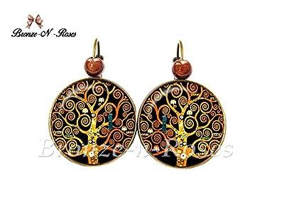 Boucles d'oreilles Arbre de vie cabochon bronze Spirales Gustav Klimt noir marron reproduction