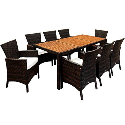 Deuba® Poly Rattan Sitzgruppe 8+1 braun | 7cm Dicke Sitzauflagen | Tischplatte aus Akazienholz | wetterbeständiges Polyrattan [ Modellauswahl 4+1/6+1/8+1 ] - Gartenmöbel Gartenset Sitzgarnitur Set