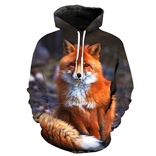 3D-Hoodies für Frauen Männer Fuchs Drucken mit Kapuze Sweatshirts Casual Langarm Pullover Tops Bild Farbe XL