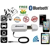 ZED BONE™ Bluetooth Stereo Adapter Audio Receiver 3.5Mm Music Wireless Hifi Dongle Transmitter For Car And Home Theater, Random Colourand(Get A Extra Assured Gift Absolutly Free If You Purchase This From ZED BONE)