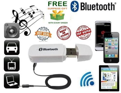JBONE™ Bluetooth Stereo Adapter Audio Receiver 3.5Mm Music Wireless Hifi Dongle Transmitter for car and home theater, random colourand(Get a extra assured gift absolutly free if you purchase this from JBONE)