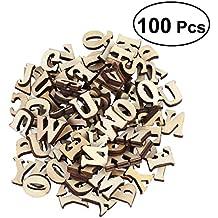 ROSENICE Letras de madera Scrapbooking Discos de corte de madera Artes de madera Artesanías alfabeto 100pcs