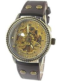 MapofBeauty Squelette Or mécanique automatique Montre Homme spéciales Miroir Table cuivre Bezel montres mécaniques (brun)