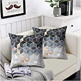 Convallaria Throw Pillows Covers for Couch Sofa 18 x 18 inch Decorative Cases for Bed Cushion Covers Set for Bedroom, Living Room, Couch,Car (Mathematical Geometry Theme Set of 2)