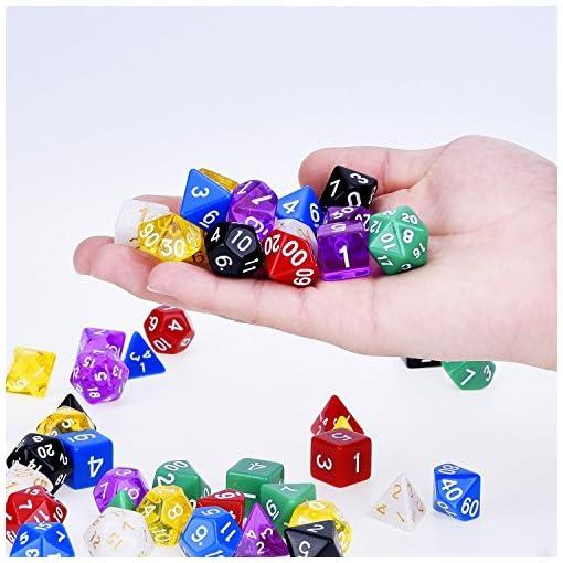 Mehrfarbig-Polyedrischen-Wrfel-Spielwrfel-fr-Dungeons-und-Dragons-DND-MTG-RPG-mit-7-Stck-Schwarz-Beutel-7-Set-D20-D12-2-D10-00-90-und-0-9-D6-D8-und-D4-49-Stck